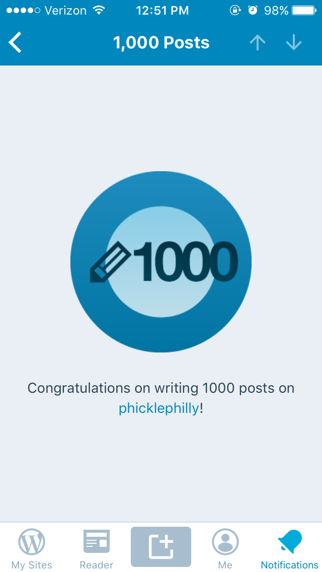 Phicklephilly – 2019 – 1000 Posts! – We Did It!!!